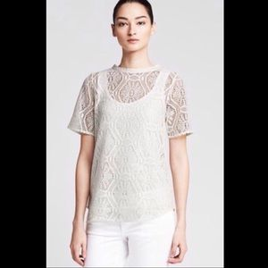 Banana Republic - lacy cream colored tee SZ S EUC